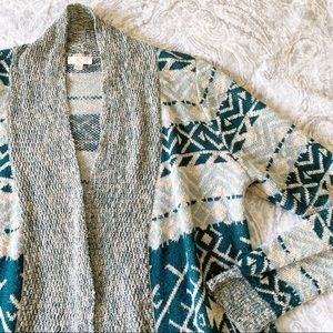 CHARMING CHARLIE Open Front Cardigan Sweater Teal